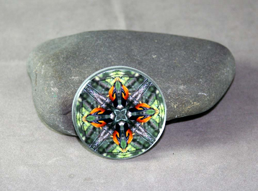 Oriole Song Bird Glass Magnet Sacred Geometry Mandala Kaleidoscope Ornament of Orange