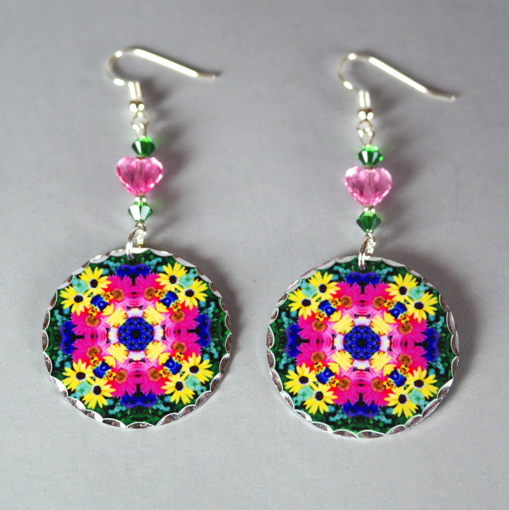 Daisy Earrings Silver Mandala Sacred Geometry Kaleidoscope Daisy Delight