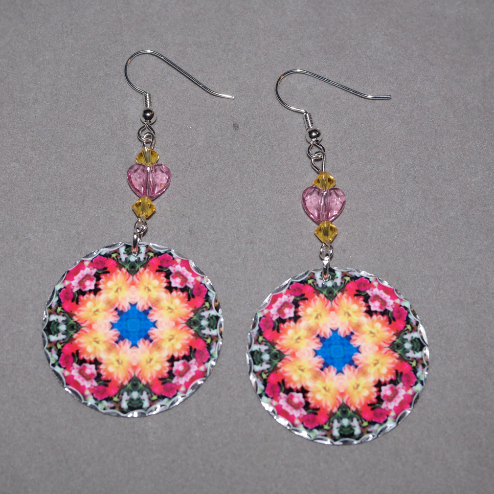 Dahlia Earrings Dangle Boho Chic Mandala New Age Sacred Geometry Hippie Kaleidoscope Deepest Devotion