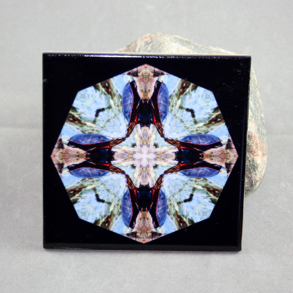 Turtle Decorative Ceramic Tile Sacred Geometry Mandala Kaleidoscope Deliberate Dreamer