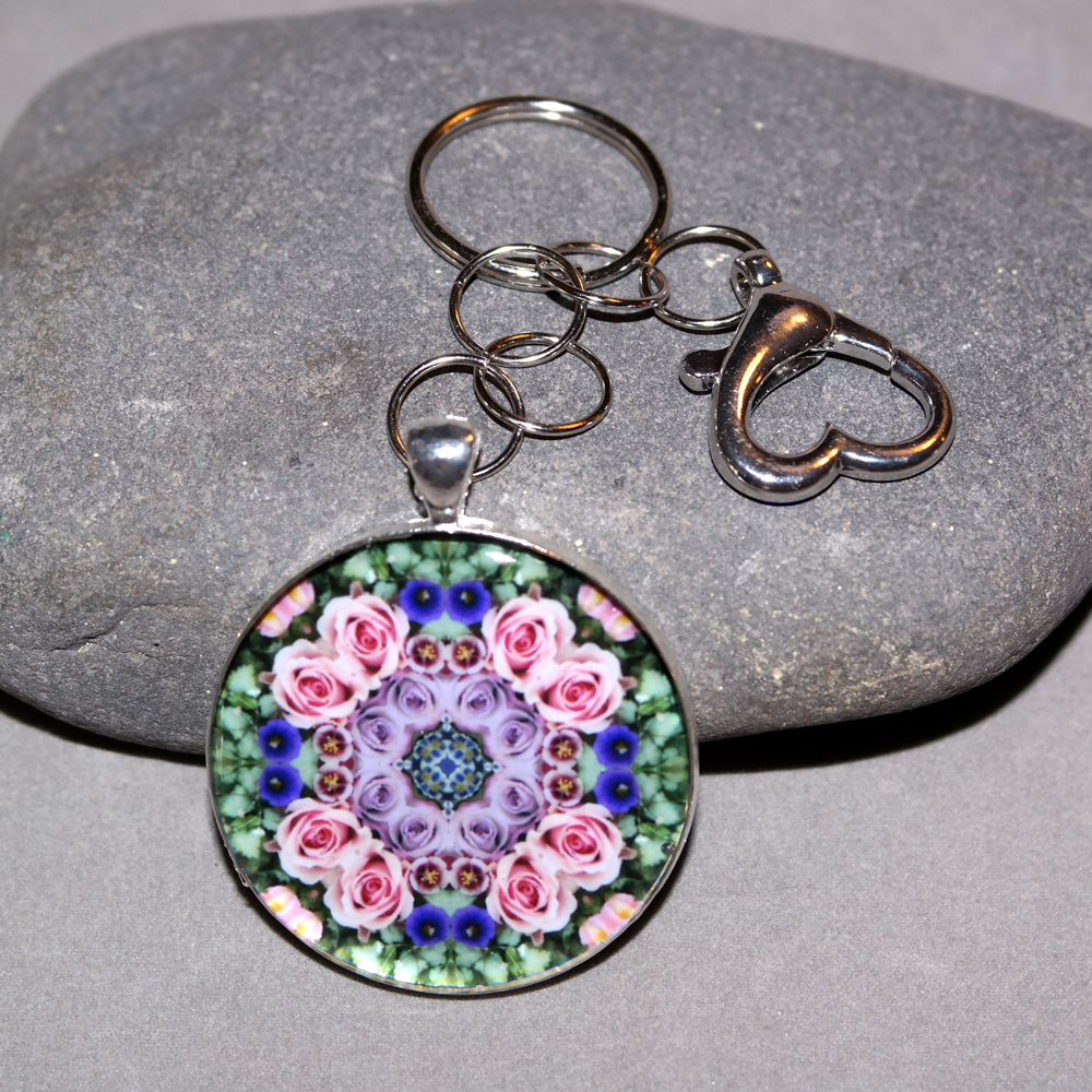 Rose Key Chain Sacred Geometry Mandala Elegant Enchantment
