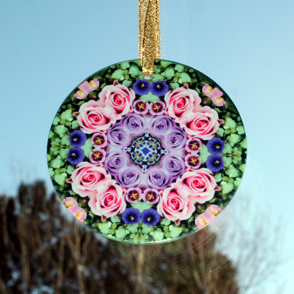 Rose Glass Suncatcher Mandala Kaleidoscope Geometric Elegant Enchantment
