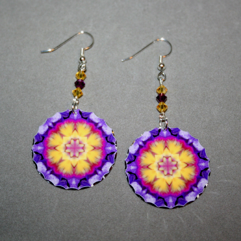 Pansy Earrings Dangle Boho Chic Mandala New Age Sacred Geometry Hippie Kaleidoscope Endearing Memories