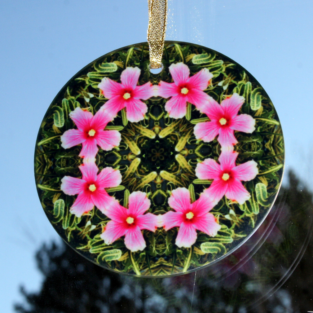 Hibiscus Suncatcher Glass Boho Mandala Sacred Geometry New Age Kaleidoscope Endless Love