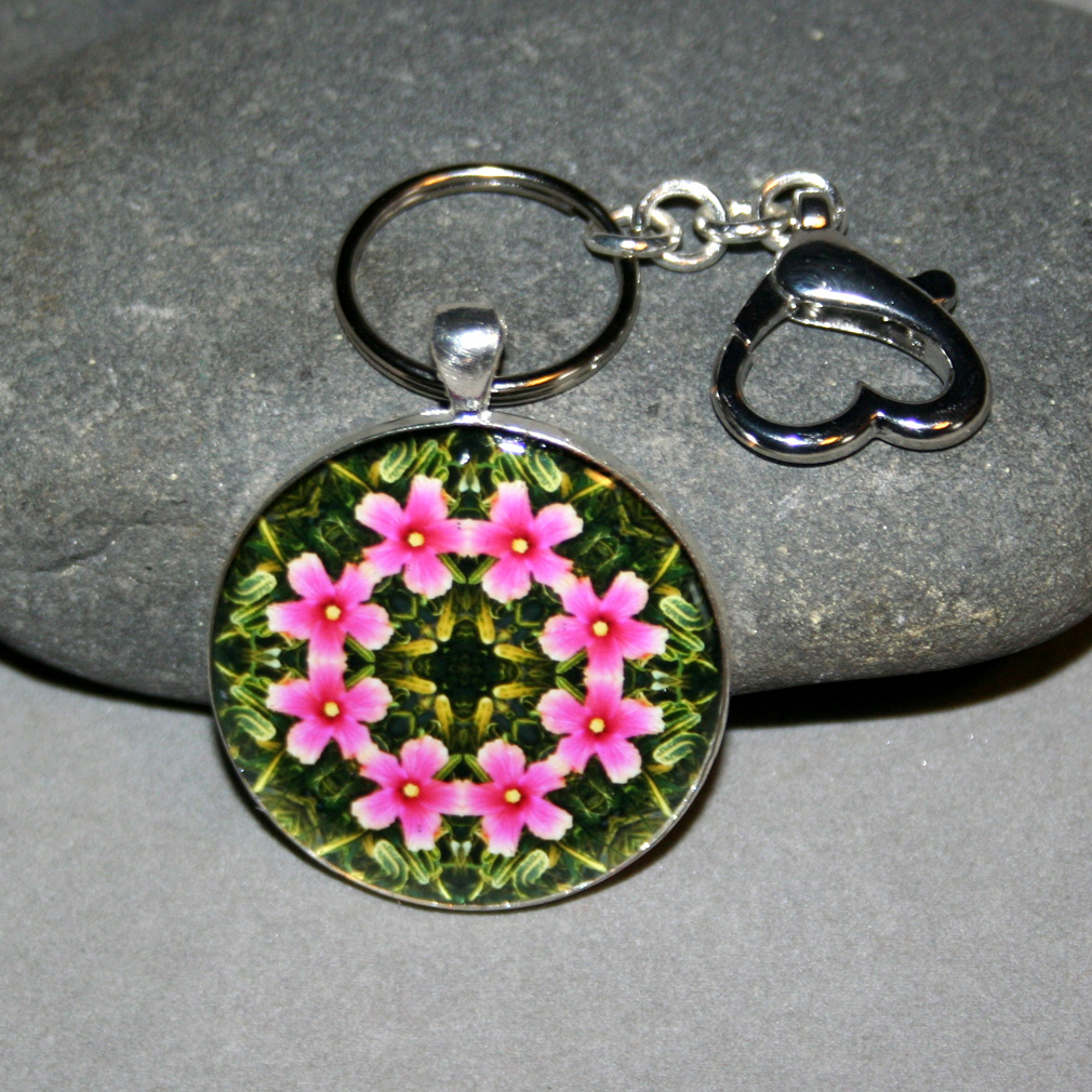 Hibiscus Keychain Bag Charm Boho Mandala New Age Sacred Geometry Kaleidoscope Endless Love