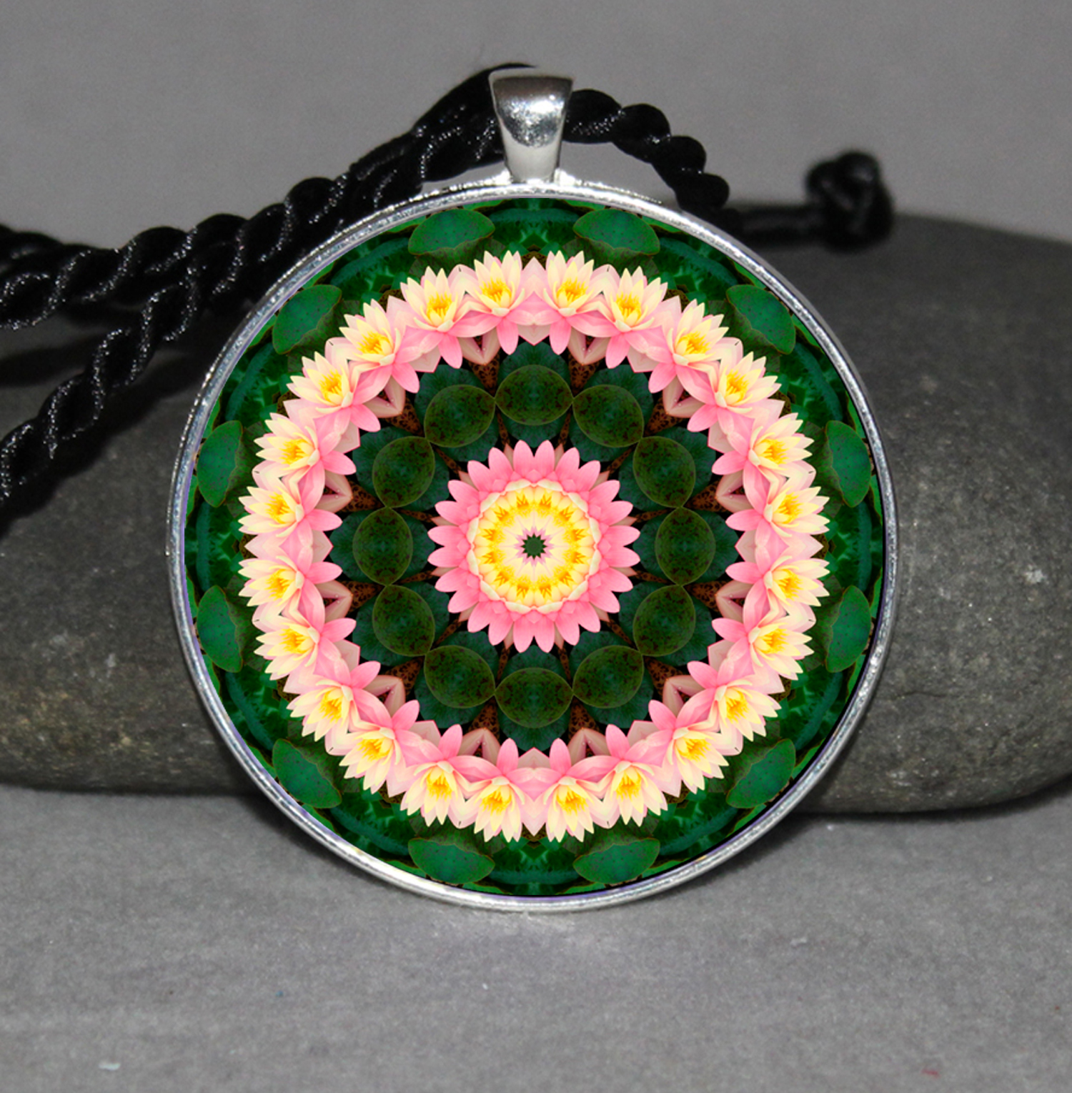 Lotus Flower Pendant Necklace Mandala Chakra Zen Sacred Geometry Kaleidoscopic Enlightened One