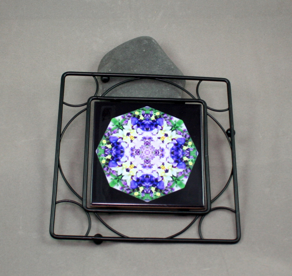 Iris Black Iron Ceramic Tile Trivet Sacred Geometry Mandala Kaleidoscope Eternal Elation