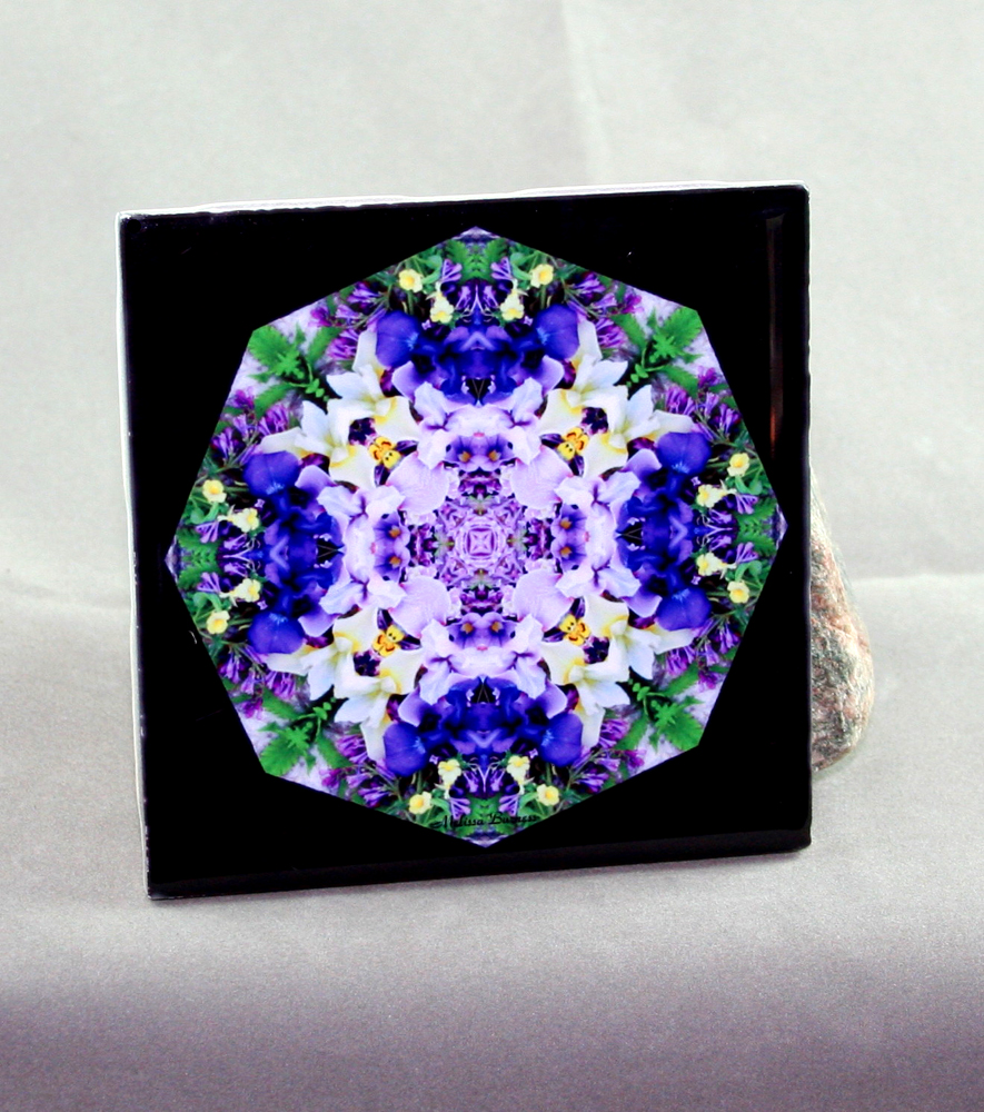 Iris Decorative Ceramic Tile Coaster Trivet Kaleidoscope Geometric Eternal Elation