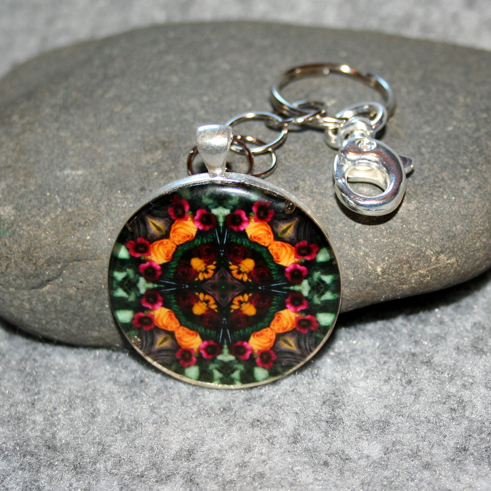 Rose Key Chain Sacred Geometry Mandala Everlasting Love