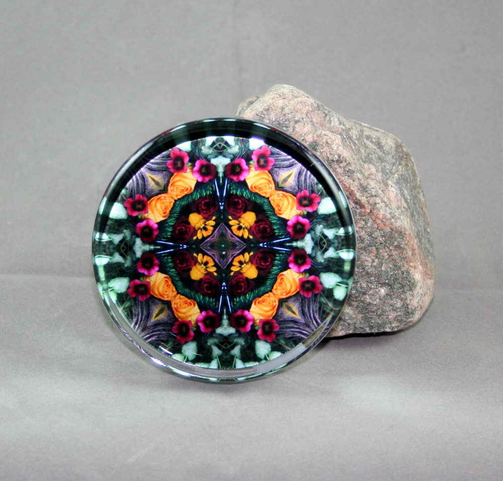 Rose Glass Paperweight Kaleidoscope Mandala Everlasting Love