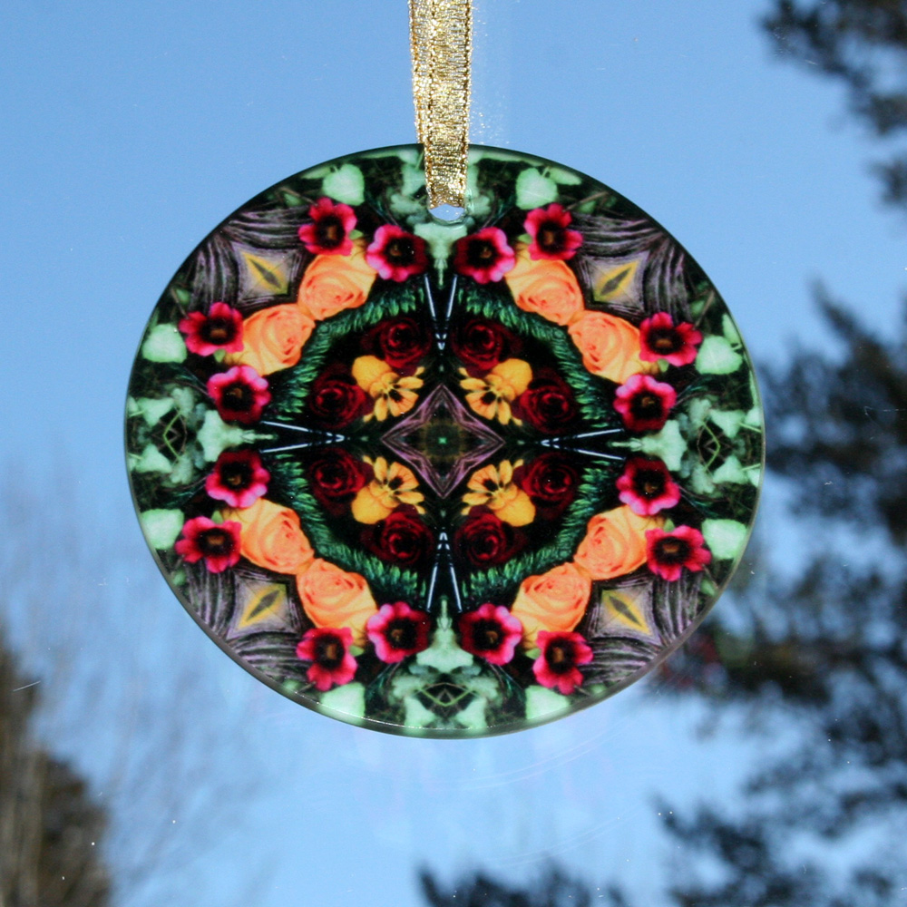Rose Glass Suncatcher Mandala Kaleidoscope Geomentric Everlasting Love
