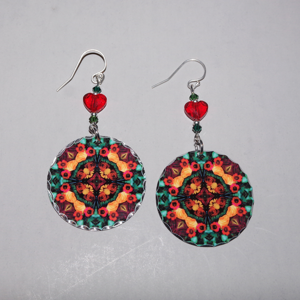 Rose Earrings Dangle Boho Chic Mandala New Age Sacred Geometry Hippie Kaleidoscope Everlasting Love