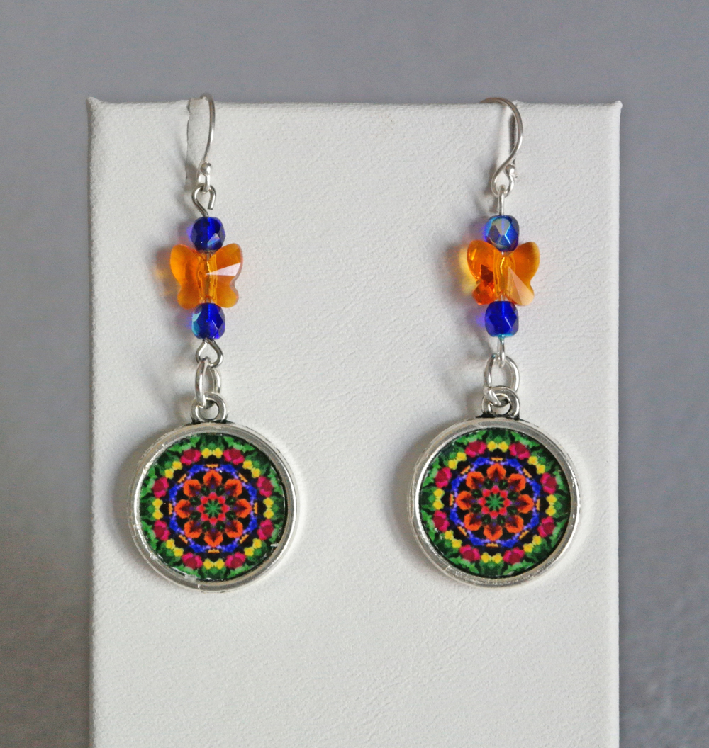 Mandala Earrings Petite Pansy Chakra Boho Chic Sacred Geometry Zen Hippie Kaleidoscope Gypsy New Age Unique Gift For Her Exuberant  Reminiscence