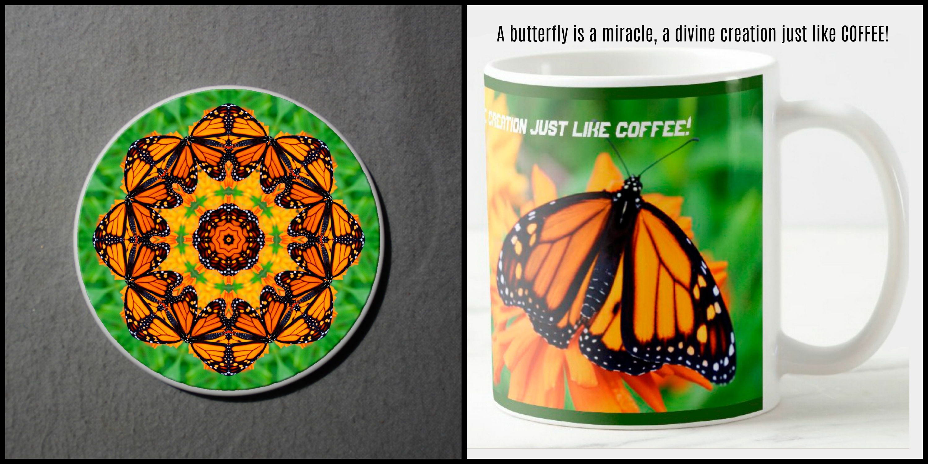 Mug Coffee Tea Hot Chocolate Unique Cute Monarch Butterfly With Coaster Gift Set Exuberant Ego
