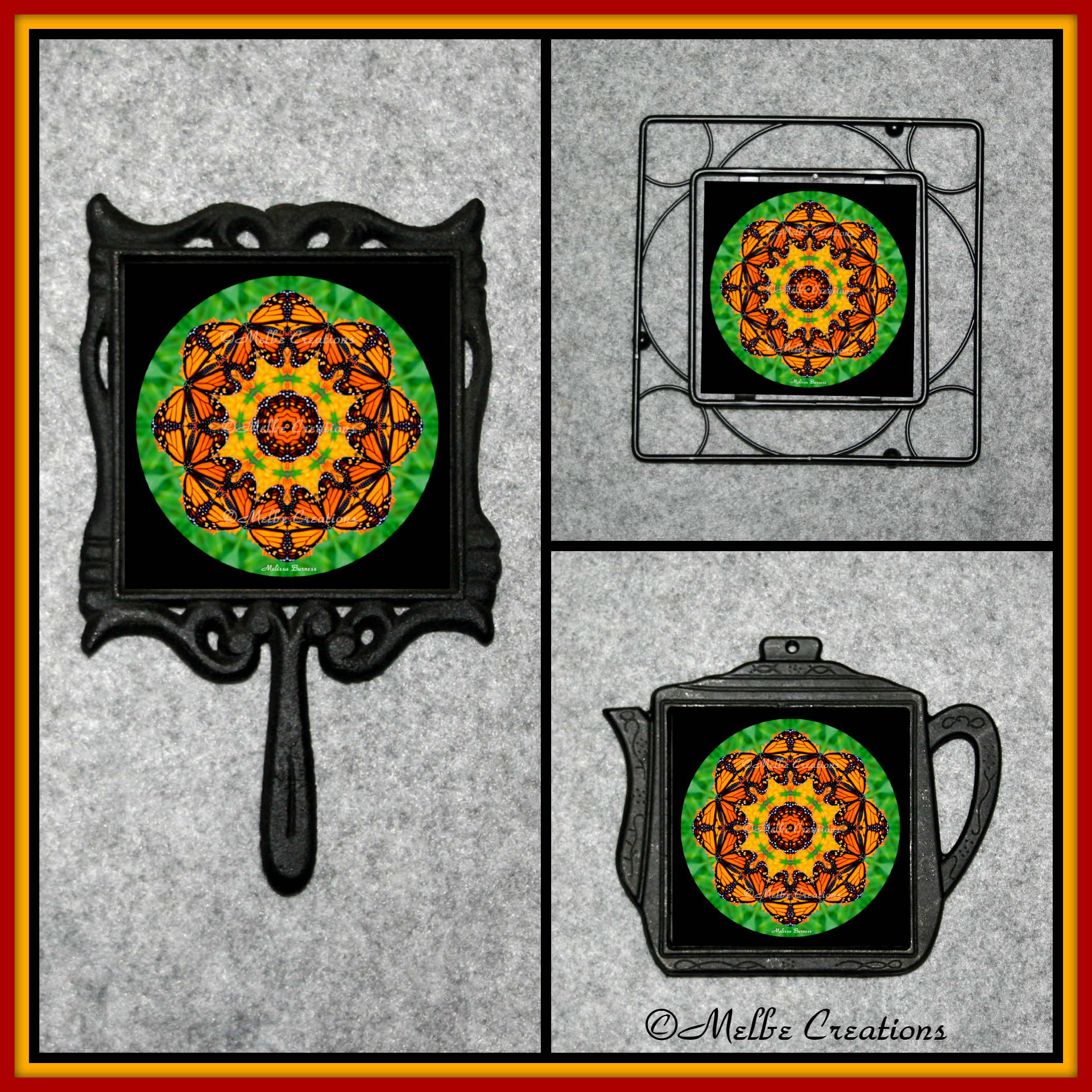 Cast Iron Metal Teapot Kitchen Trivet Monarch Butterfly Chef Foodie Housewarming Wedding Gift EE1