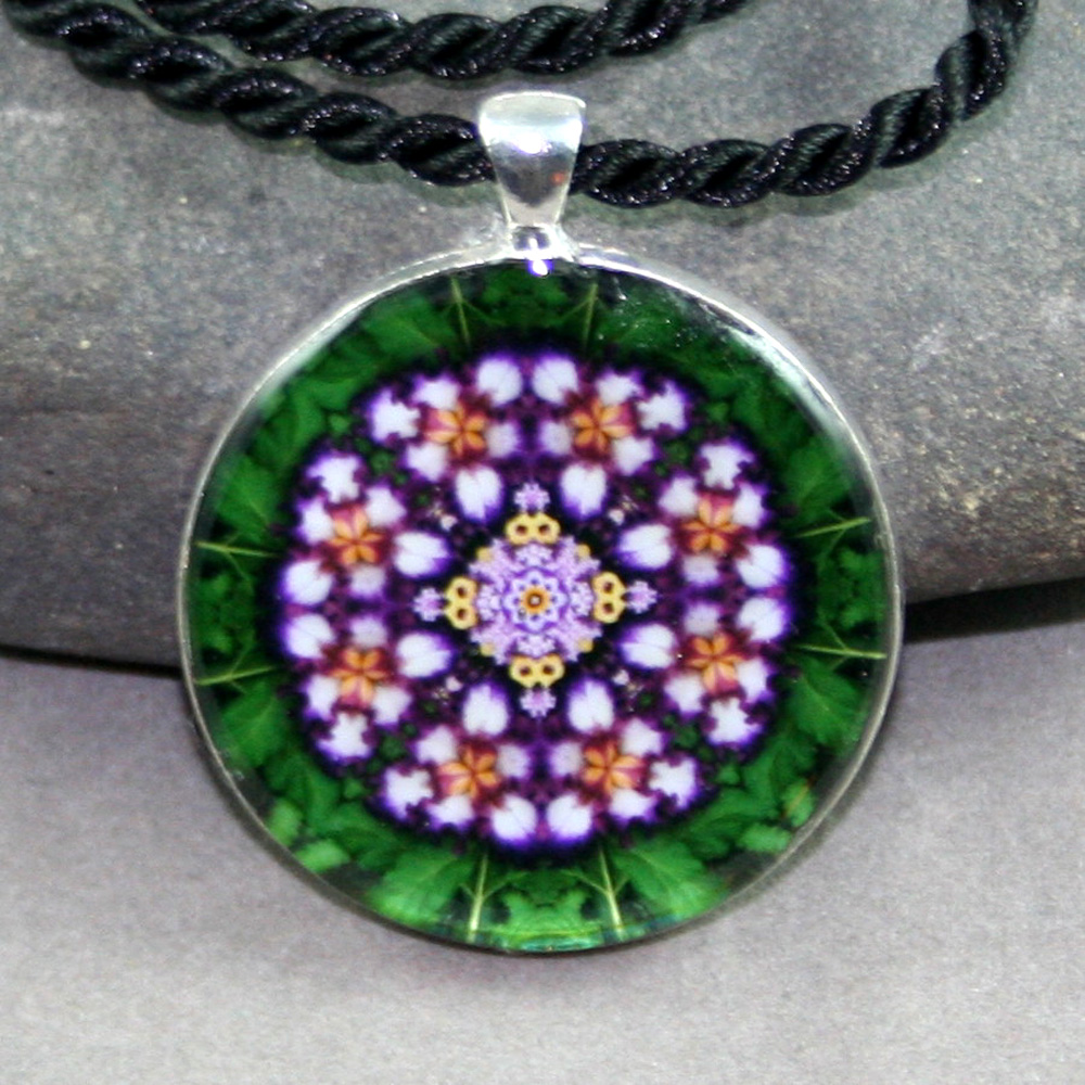 Iris Pendant Necklace Mandala Kaleidoscope Sacred Geometry Faithfully Yours