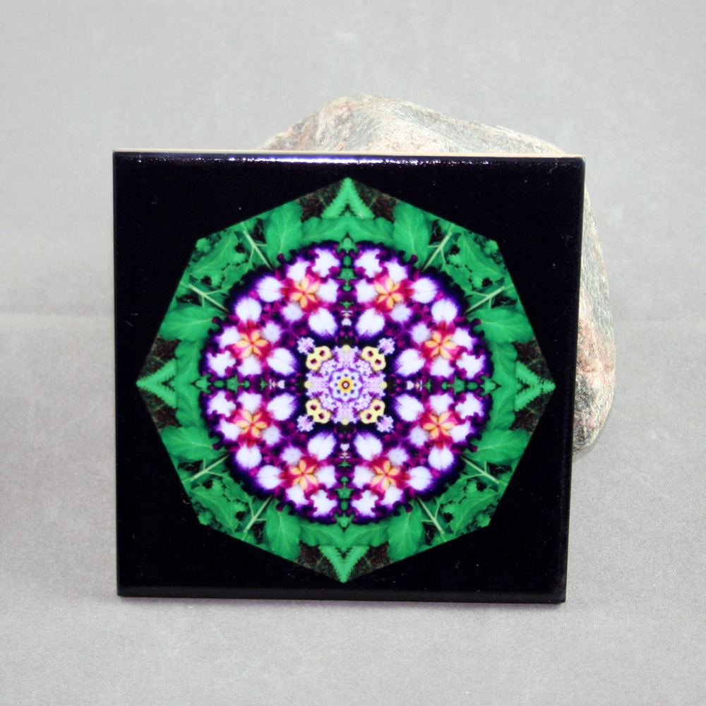Iris Decorative Ceramic Tile Coaster Sacred Geometry Geometric Kaleidoscope Faithfully Yours