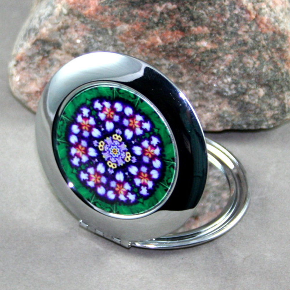 Iris Compact Mirror Sacred Geometry Mandala Kaleidoscope Faithfully Yours