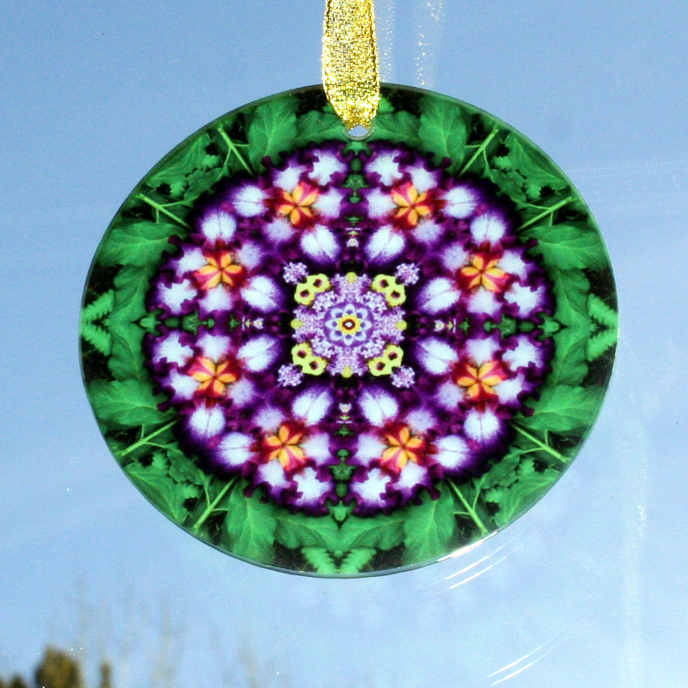 Iris Glass Suncatcher Sacred Geometry Mandala Kaleidoscope Faithfully Yours