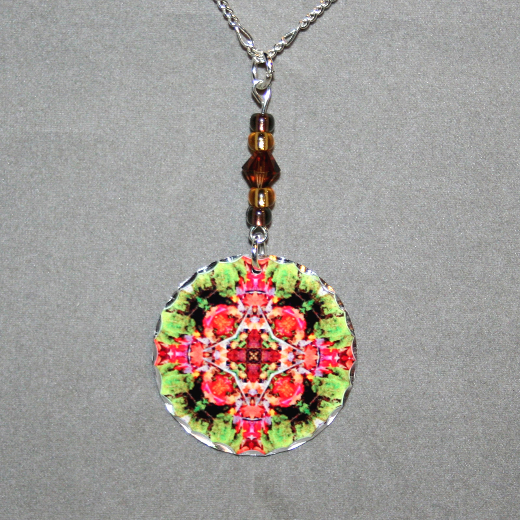 Autumn Leaves Charm Necklace Silver Mandala Sacred Geometry Kaleidoscope Fall Dreamcatcher