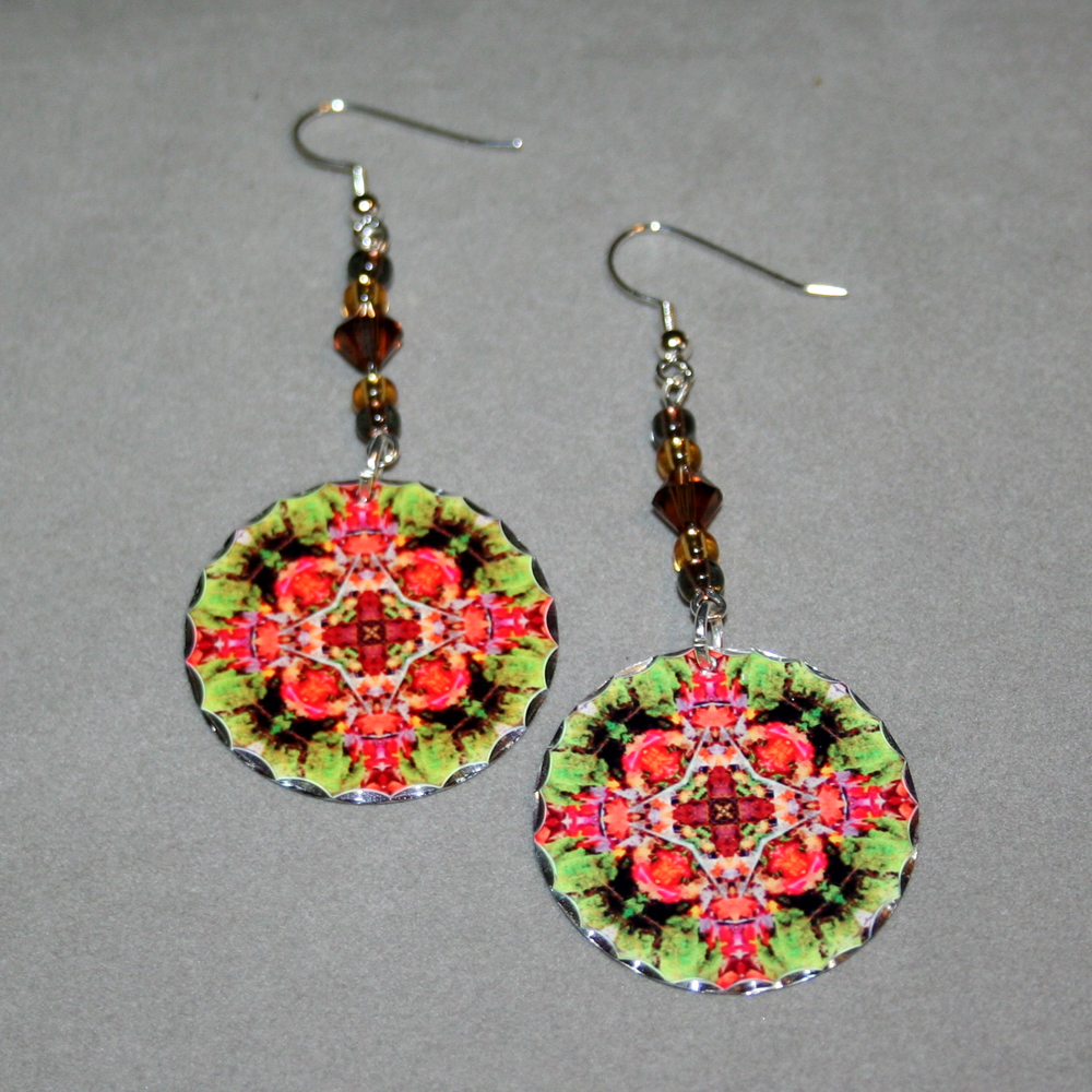 Autumn Leaf Earrings Silver Mandala Sacred Geometry Kaleidoscope Fall Dream Catcher