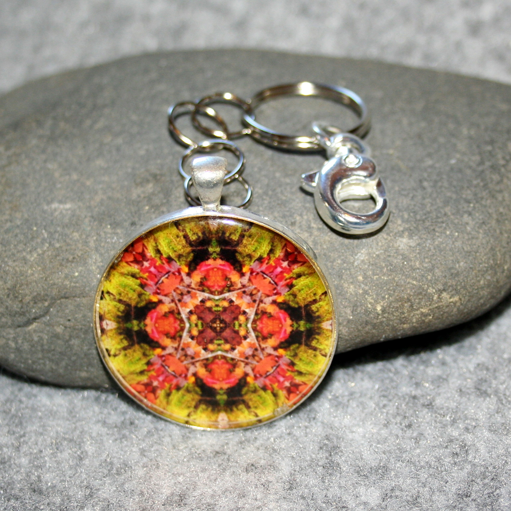 Autumn Leaves Key Chain Sacred Geometry Mandala Fall Dreamcatcher