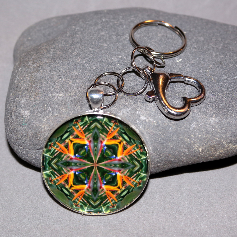 Bird of Paradise Keychain Sacred Geometry Mandala Feathered Fauna
