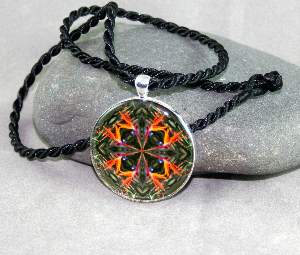 Bird of Paradise Flower Geometric Necklace Mandala Feathered Fauna