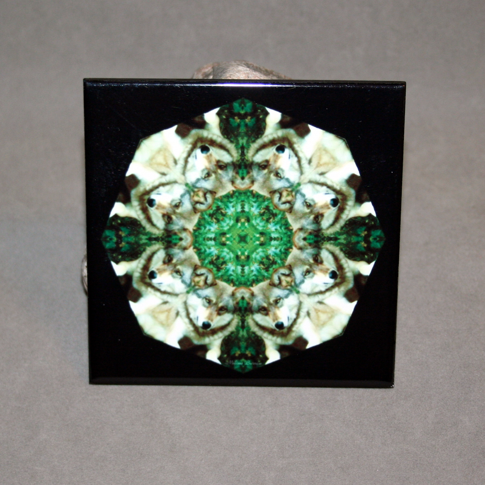 Wolf Decorative Ceramic Tile Coaster Sacred Geometry Kaleidoscope Fierce Determination