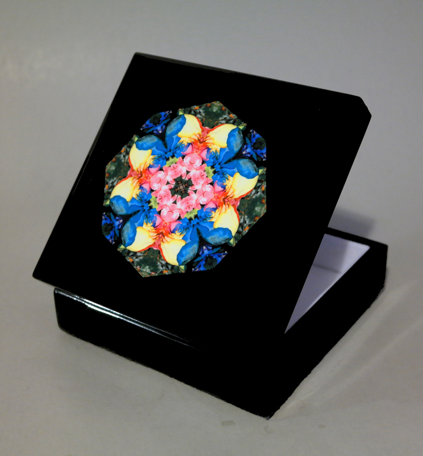 Rainbow Rose Music Box Keepsake Box Trinket Box Jewelry Box Boho Chic Mandala New Age Sacred Geometry Hippie Kaleidoscope Unique Gift For Her Flamboyant Harmony