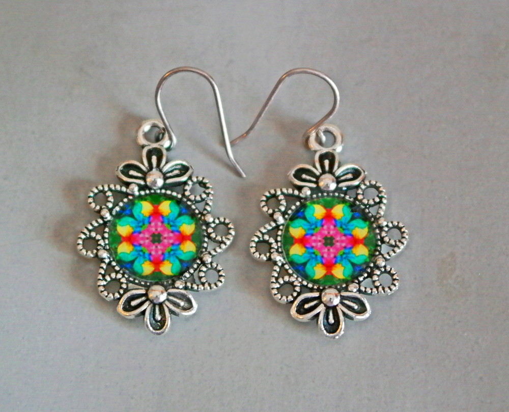 Rainbow Rose Mandala Earrings Flower Bezel Boho Chic Sacred Geometry Hippie Kaleidoscope Gypsy New Age Unique Gift For Her Flamboyant Harmony