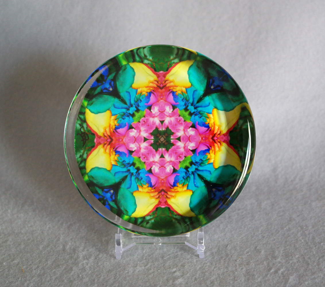 Rainbow Rose Glass Paperweight Boho Chic Mandala Chakra New Age Sacred Geometry Kaleidoscope Unique Boss Gift Teacher Gift Coworker Gift Flamboyant Harmony