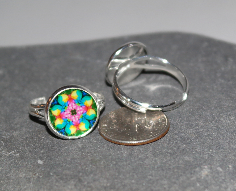 Rose Mandala Ring Adjustable Boho Chic Sacred Geometry New Age Hippie Kaleidoscope Bohemian Unique Gift For Her Flamboyant Harmony