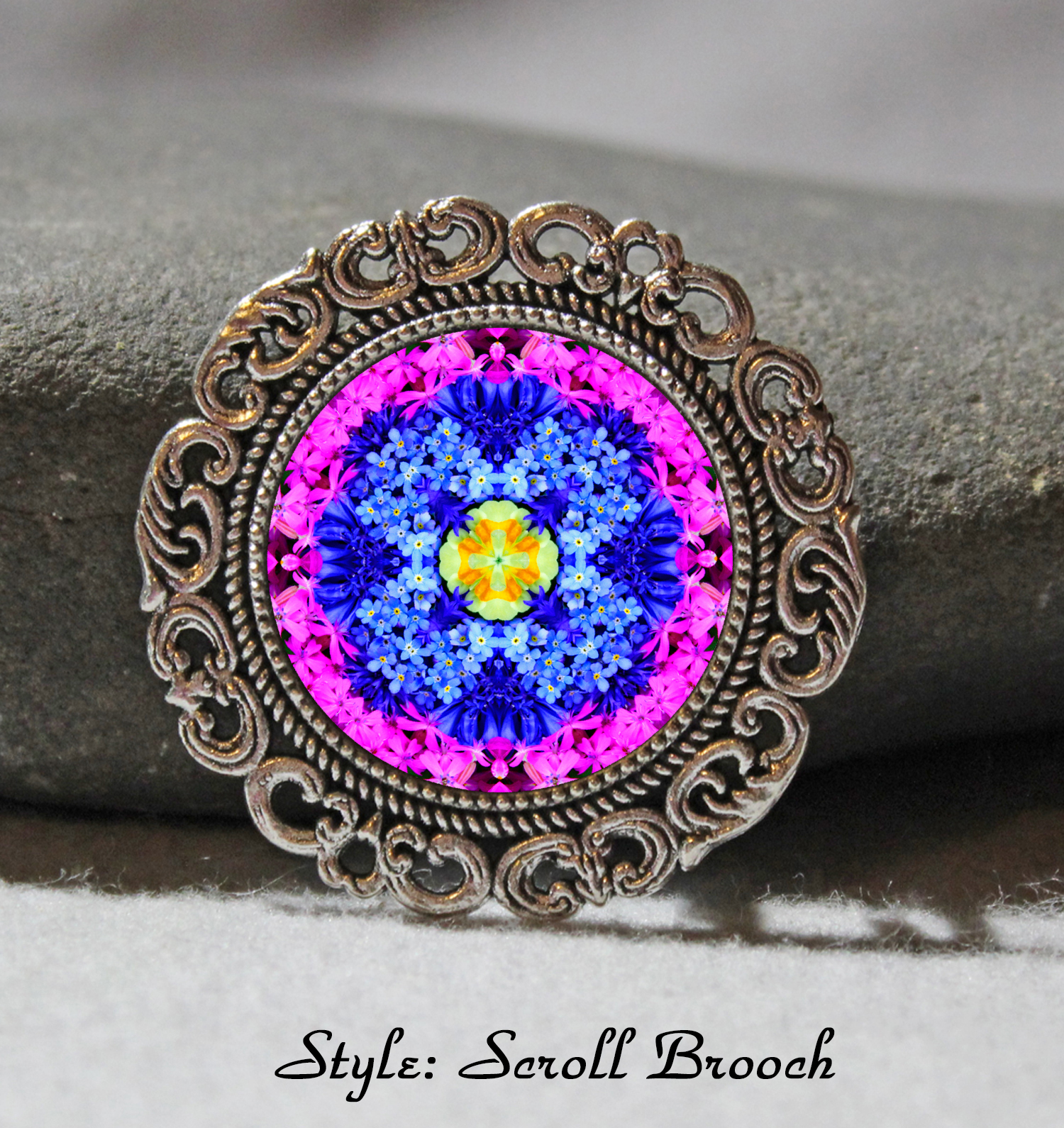 Brooch Lapel Pin Collar Pin Hat Pin Scarf Pin Forget Me Not Chakra Mandala Sacred Geometry Unique Gift For Her Forget Me Not