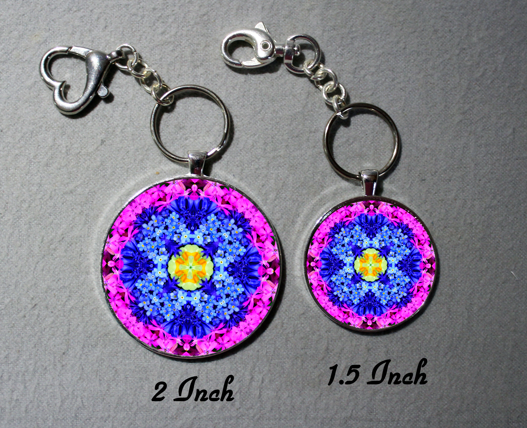 Key Chain Forget Me Not Mandala Purse Charm Bag Charm Unique Gift Forget Me Not