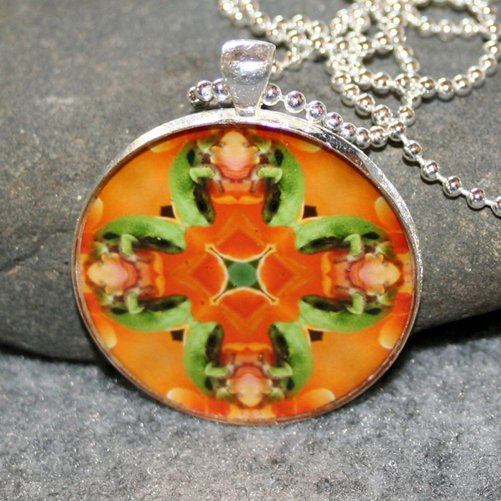 Frog Pendant Sacred Geometry Mandala Kaleidoscope Necklace Fortunate Finnegan