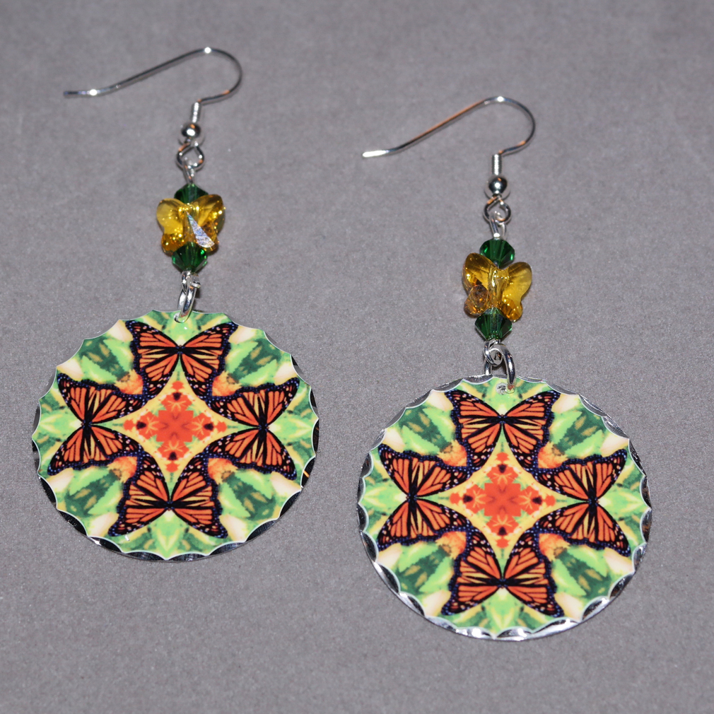 Butterfly Earrings Dangle Boho Chic Mandala New Age Sacred Geometry Hippie Kaleidoscope Free Spirit