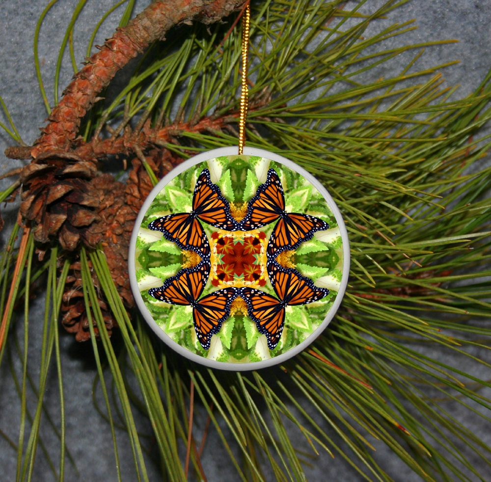 Ornament Christmas Ceramic Monarch Butterfly Mandala All Occasion Sacred Geometry Kaleidoscope Boho Chic New Age Bohemian Modern Unique Free Spirit