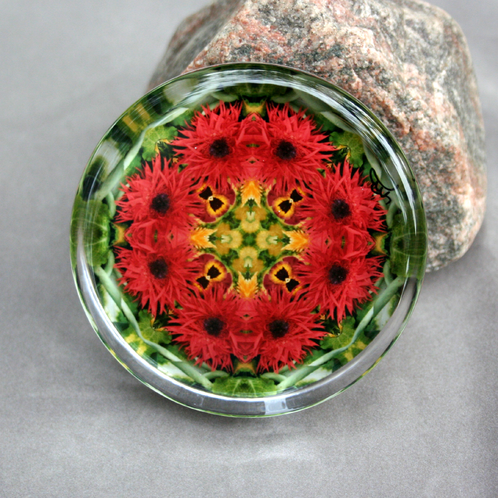 Daisy Glass Paperweight Boho Chic Mandala New Age Sacred Geometry Kaleidoscope Fringe Benefits