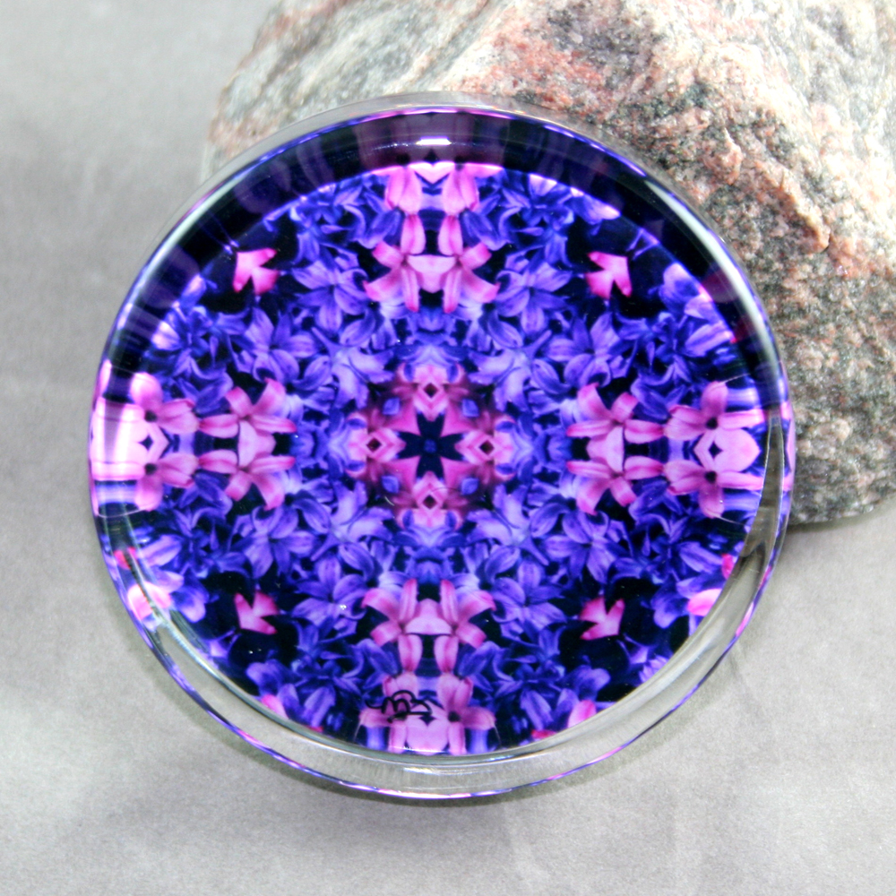 Hyacinth Glass Paperweight Mandala Sacred Geometry Kaleidoscope Frolicking Flora