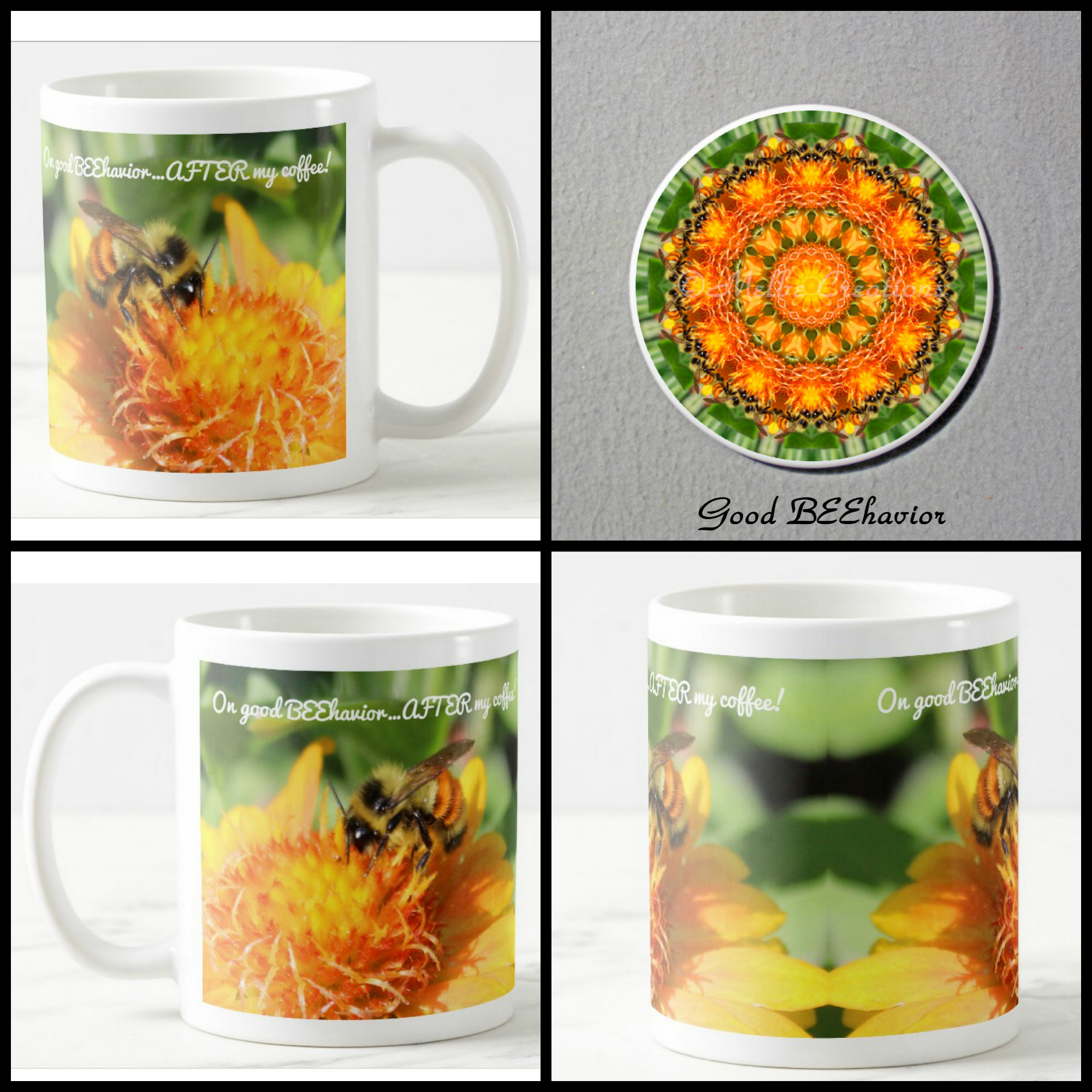 Mug Coffee Tea Hot Chocolate Unique Cute Bumble Bee Honey Bee With Coaster Gift Set Good BEEhavior
