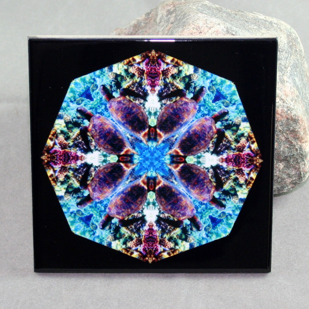 Turtle Decorative Ceramic Tile Coaster Trivet Kaleidoscope Gordan Green
