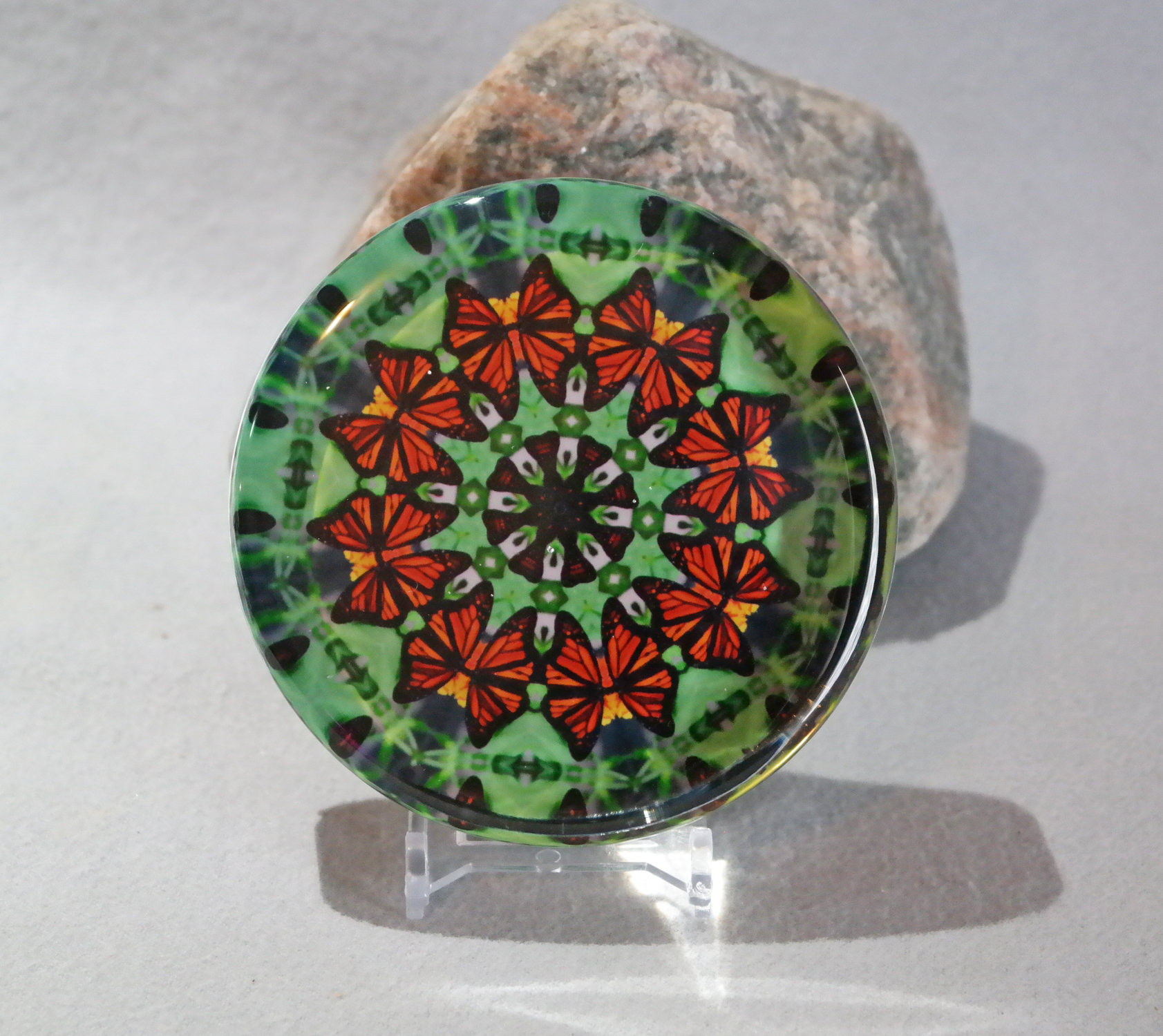 Glass Paperweight Monarch Butterfly Mandala Zen Sacred Geometry Kaleidoscopic Guardian Angel
