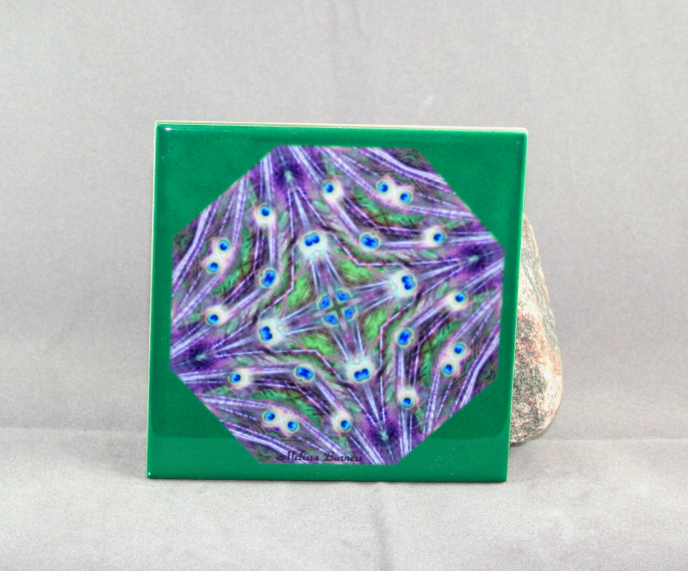 Peacock Feathers Decorative Ceramic Tile Coaster Kaleidoscope Happenstance