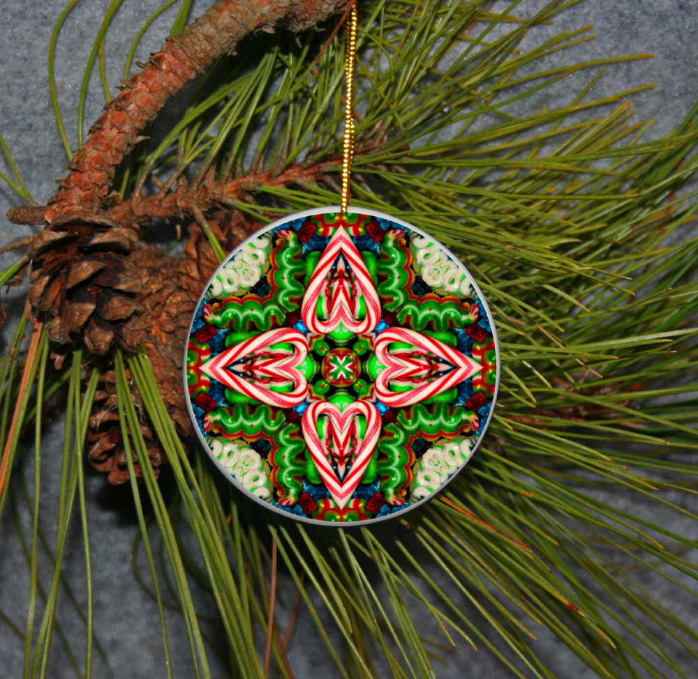Candy Cane Christmas Ornament Boho Chic Mandala New Age Sacred Geometry Hippie Kaleidoscope Hard Candy Christmas