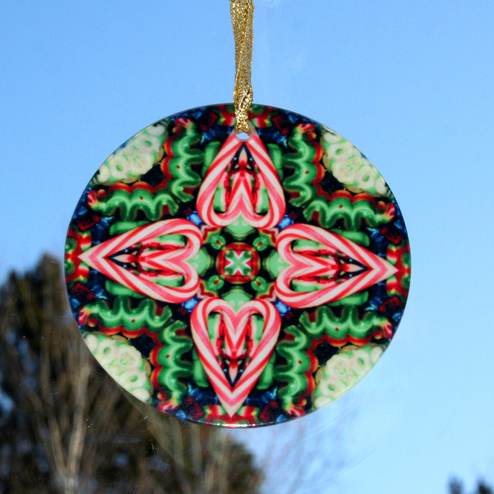 Candy Cane Glass Suncatcher Christmas Ornament Kaleidoscope Mandala Hard Candy Christmas