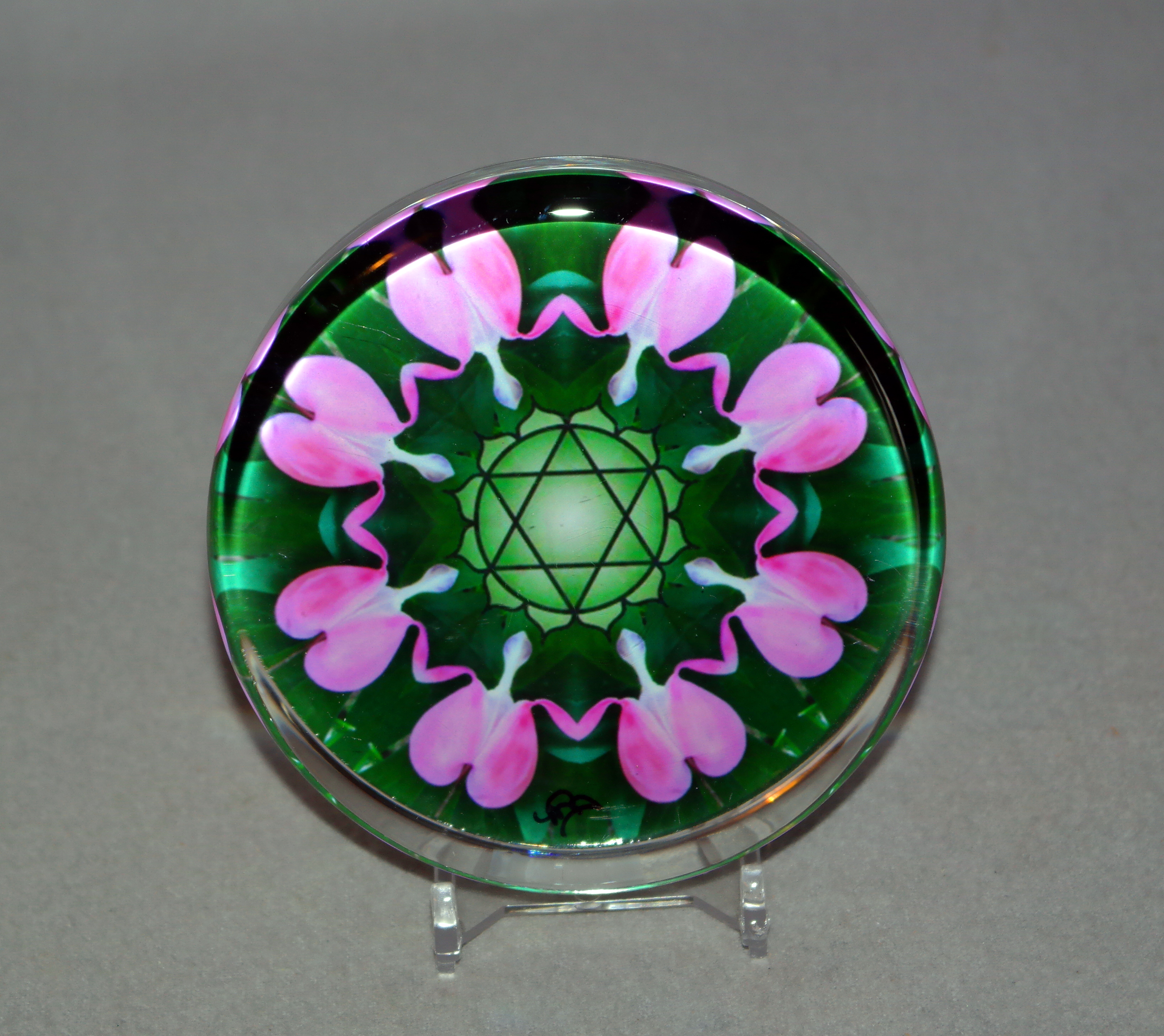 Glass Paperweight Heart Chakra Mandala Desk Accessory Bosses Gift Teacher Gift Coworker Gift 2