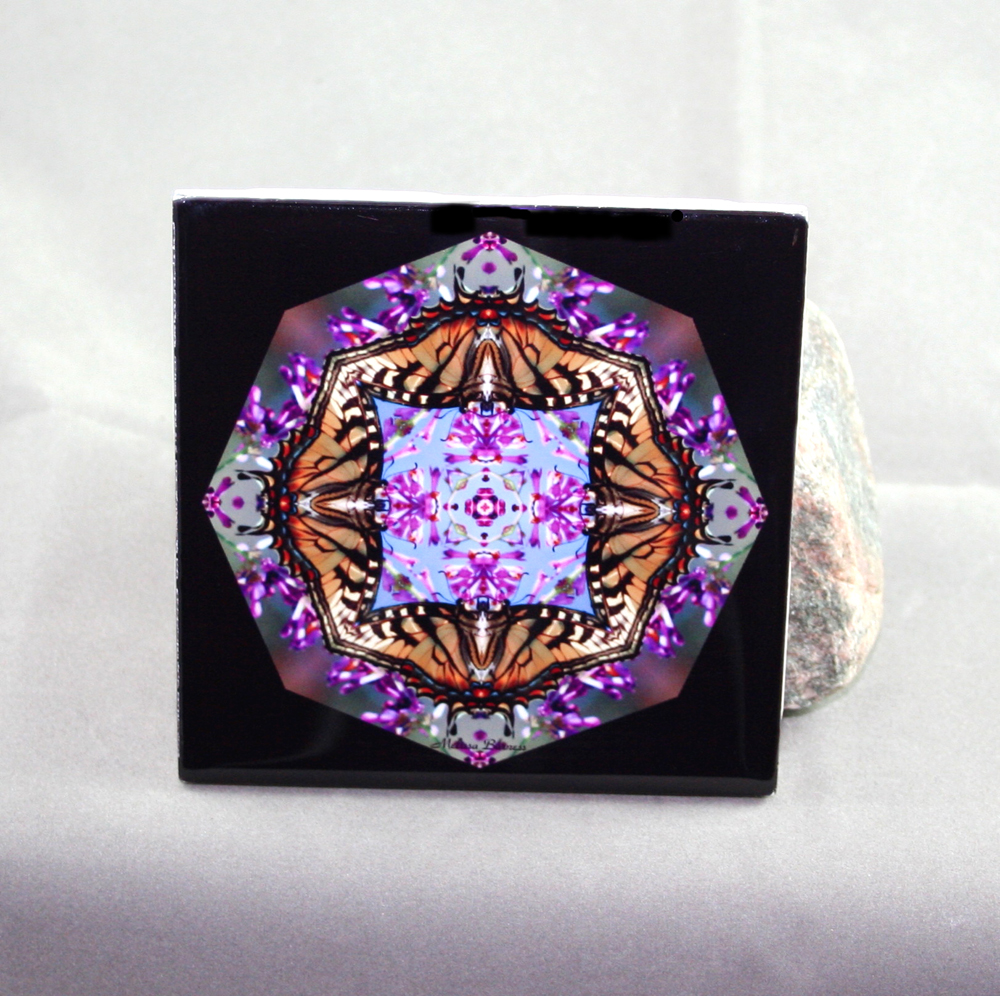 Tiger Swallowtail Butterfly Decorative Ceramic Tile Coaster Sacred Geometry Kaleidoscope Hsien