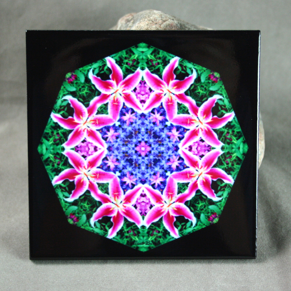 Lily Decorative Ceramic Tile Mandala Sacred Geometry Kaleidoscope Innocent Flirtation