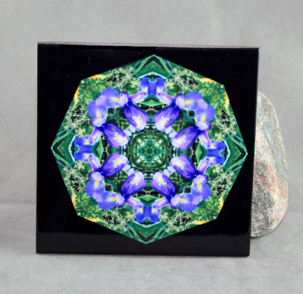 Iris Decorative Ceramic Tile Coaster Sacred Geometry Geometric Kaleidoscope Isis